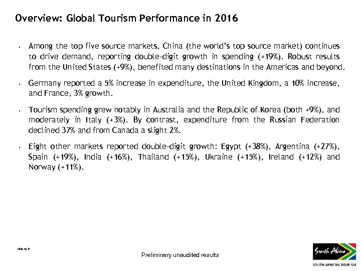 Overview: Global Tourism Performance in 2016 • • Among the top five source markets,