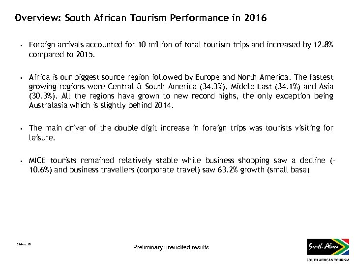 Overview: South African Tourism Performance in 2016 • • Foreign arrivals accounted for 10