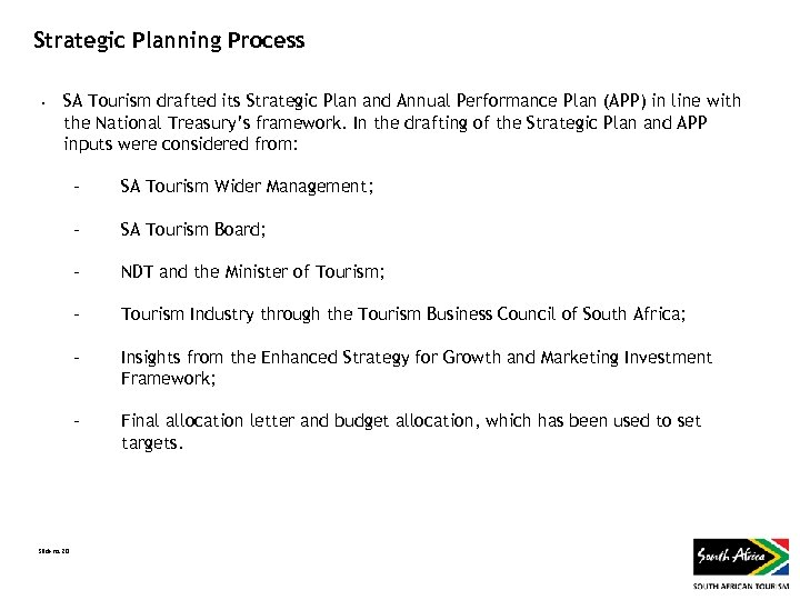 Strategic Planning Process • SA Tourism drafted its Strategic Plan and Annual Performance Plan