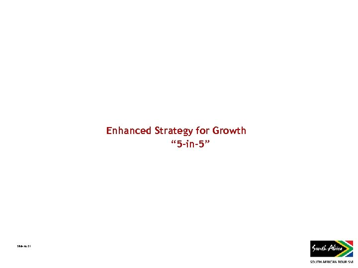 """Enhanced Strategy for Growth """" 5 -in-5"""" Slide no. 21"""