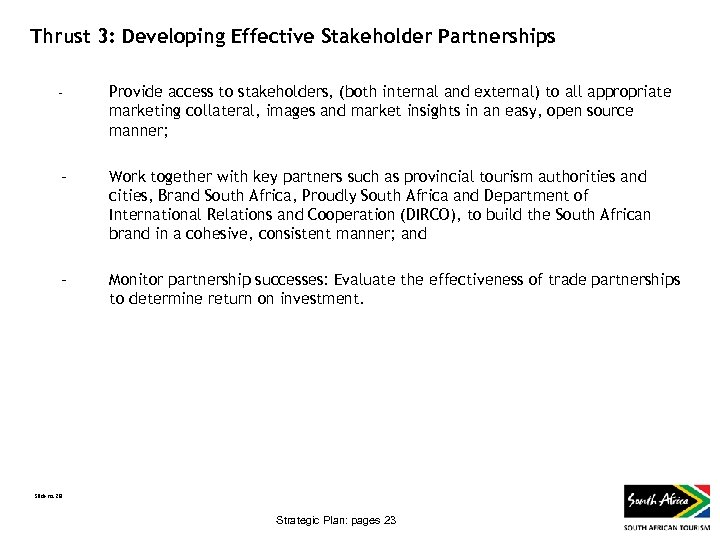 Thrust 3: Developing Effective Stakeholder Partnerships - Provide access to stakeholders, (both internal and
