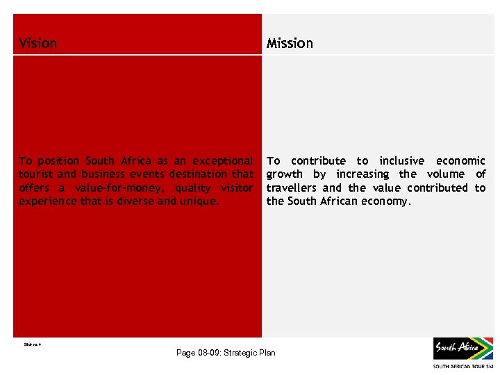 Vision Mission To position South Africa as an exceptional tourist and business events destination
