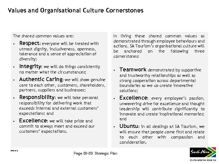 Values and Organisational Culture Cornerstones The shared common values are: • Respect: everyone will