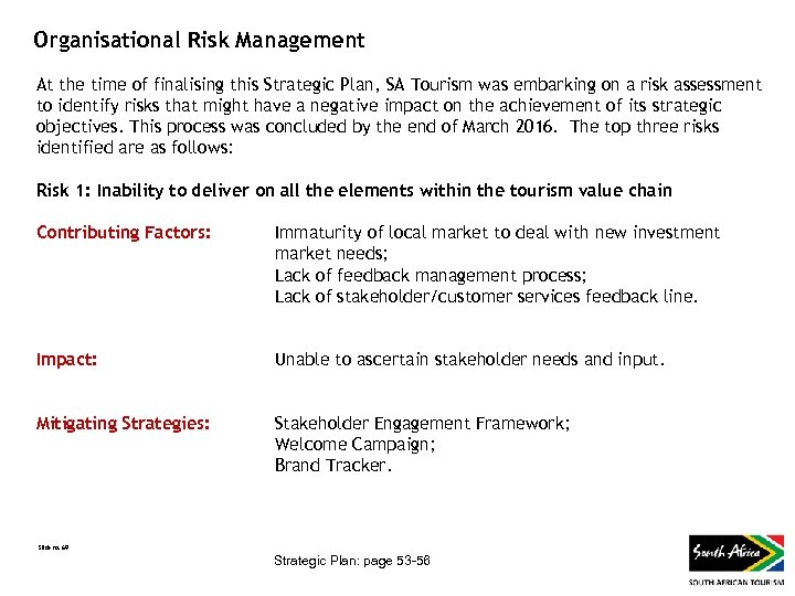 Organisational Risk Management At the time of finalising this Strategic Plan, SA Tourism was
