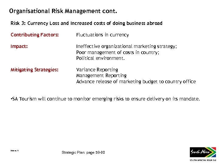 Organisational Risk Management cont. Risk 3: Currency Loss and Increased costs of doing business