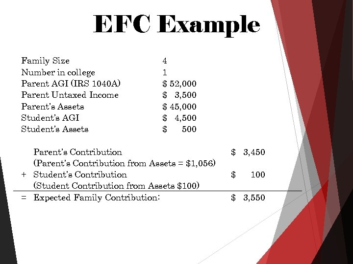 EFC Example Family Size Number in college Parent AGI (IRS 1040 A) Parent Untaxed