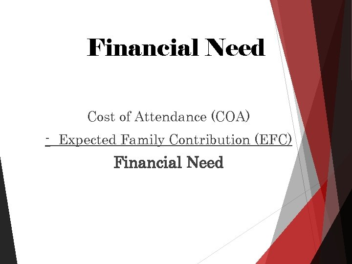 Financial Need Cost of Attendance (COA) - Expected Family Contribution (EFC) Financial Need