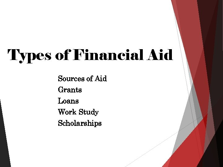 Types of Financial Aid Sources of Aid Grants Loans Work Study Scholarships