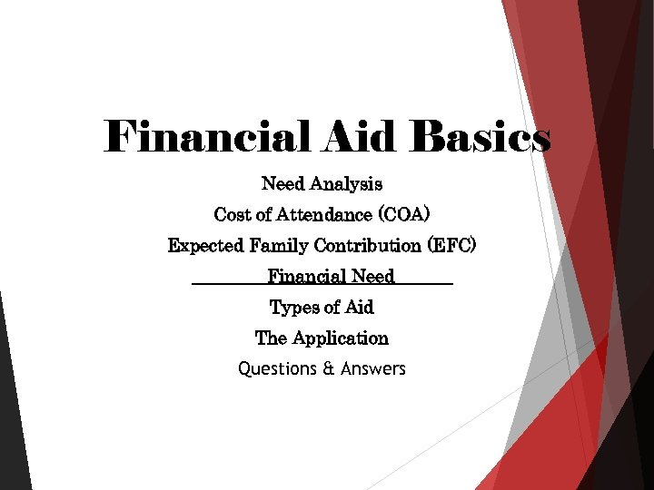 Financial Aid Basics Need Analysis Cost of Attendance (COA) Expected Family Contribution (EFC) Financial