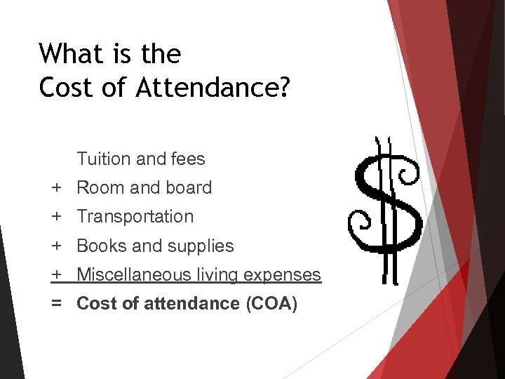 What is the Cost of Attendance? Tuition and fees + Room and board +
