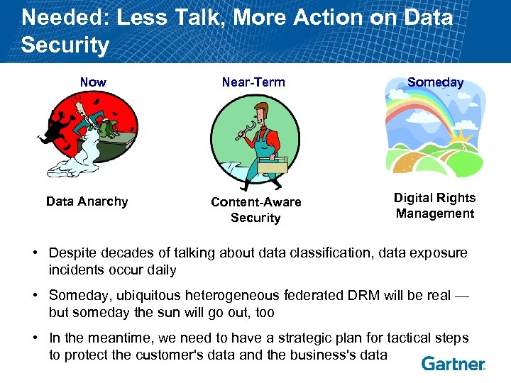 Needed: Less Talk, More Action on Data Security Now Data Anarchy Near-Term Someday Content-Aware
