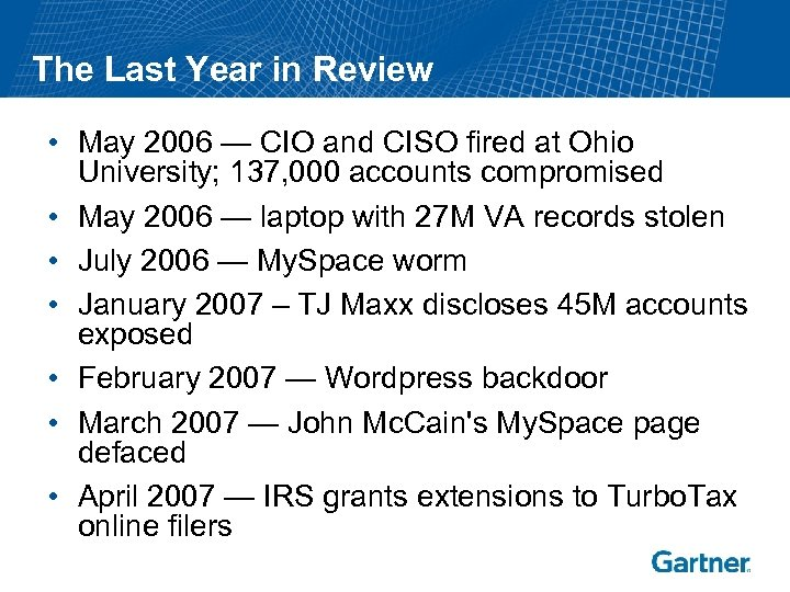 The Last Year in Review • May 2006 — CIO and CISO fired at