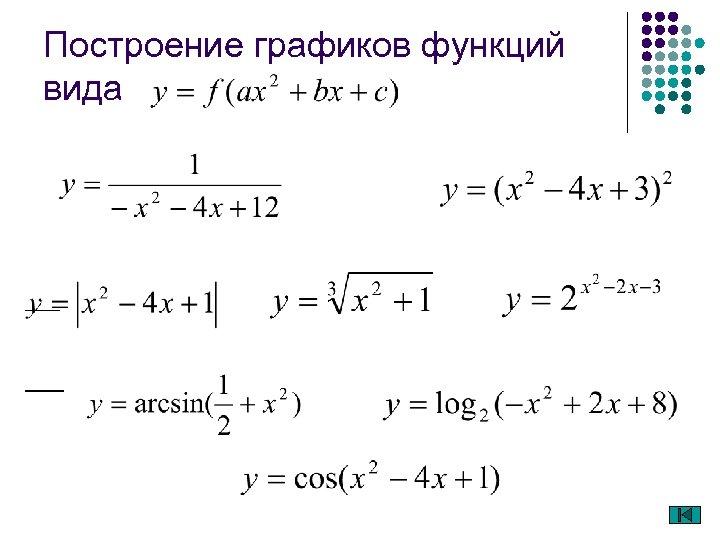 Построение графиков функций вида