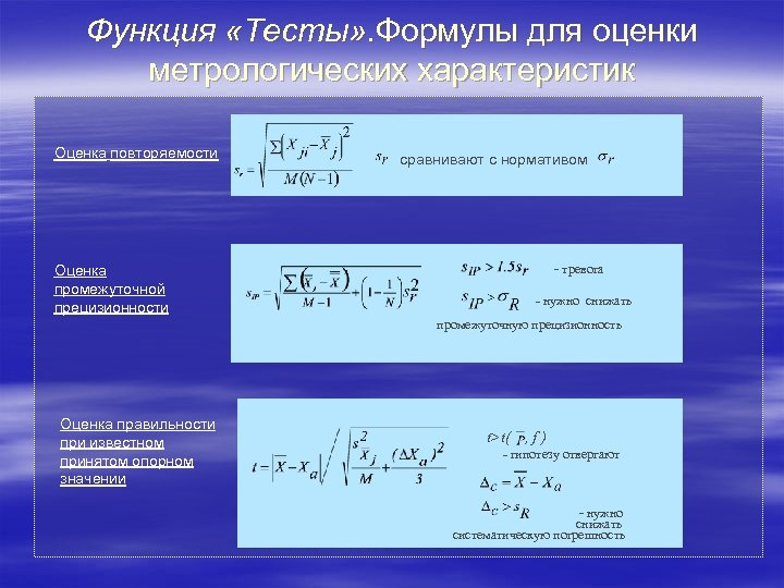 Функция «Тесты» . Формулы для оценки метрологических характеристик Оценка повторяемости сравнивают с нормативом -