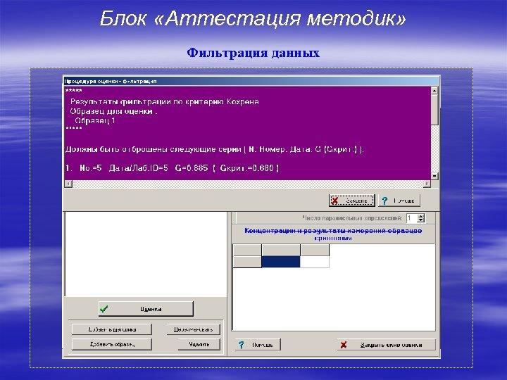 Блок «Аттестация методик» Фильтрация данных