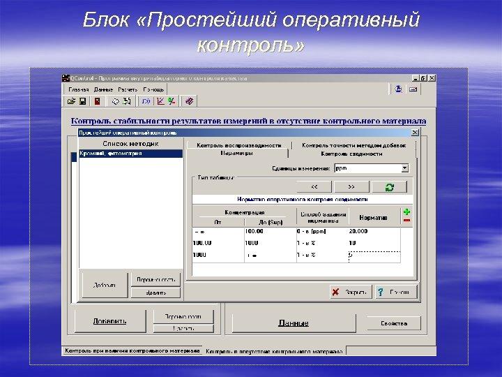 Блок «Простейший оперативный контроль»