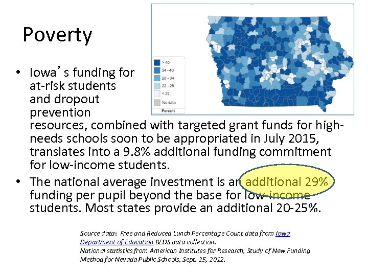Poverty • Iowa's funding for at-risk students and dropout prevention resources, combined with targeted