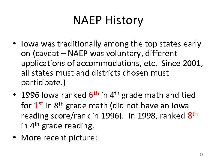 NAEP History • Iowa was traditionally among the top states early on (caveat –