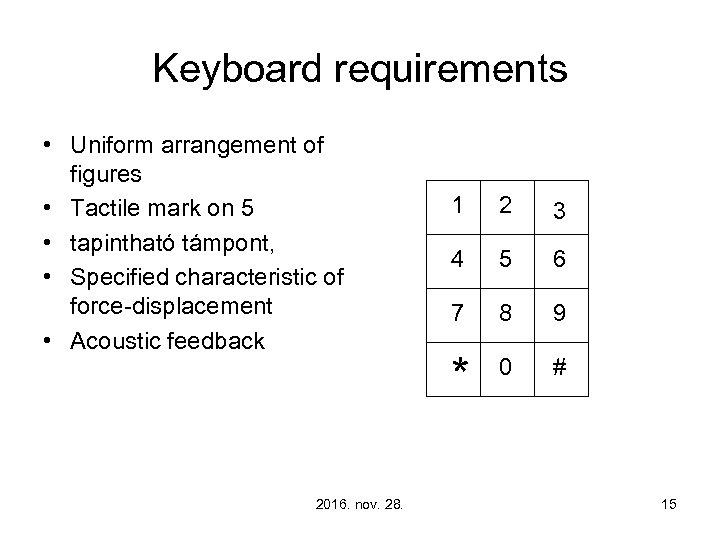 Keyboard requirements • Uniform arrangement of figures • Tactile mark on 5 • tapintható
