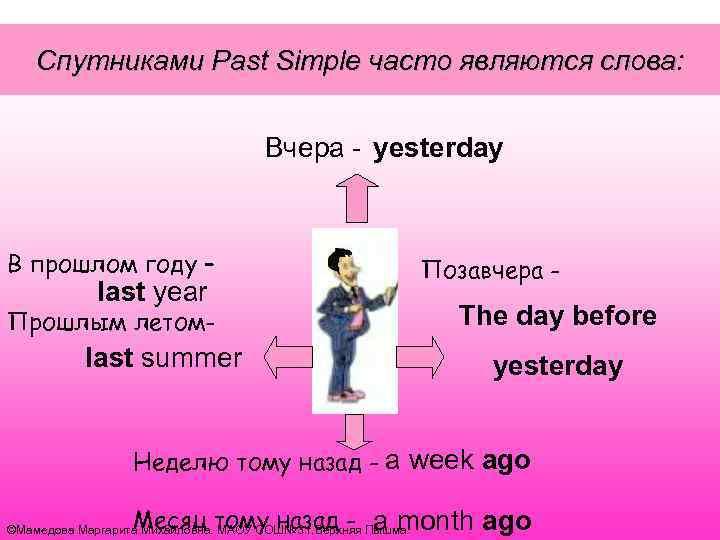 Спутниками Past Simple часто являются слова: Вчера - yesterday В прошлом году – last