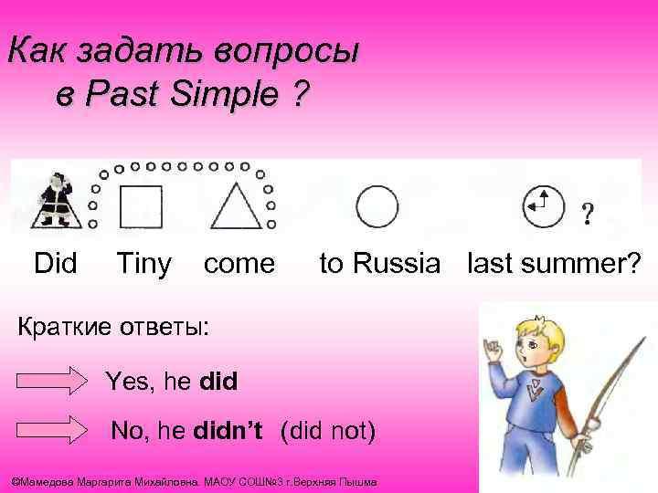 Как задать вопросы в Past Simple ? Did Tiny come to Russia last summer?