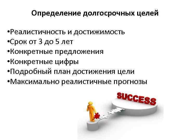 Определение долгосрочных целей • Реалистичность и достижимость • Срок от 3 до 5 лет