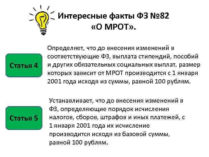 Интересные факты ФЗ № 82 «О МРОТ» . Статья 4 Определяет, что до внесения