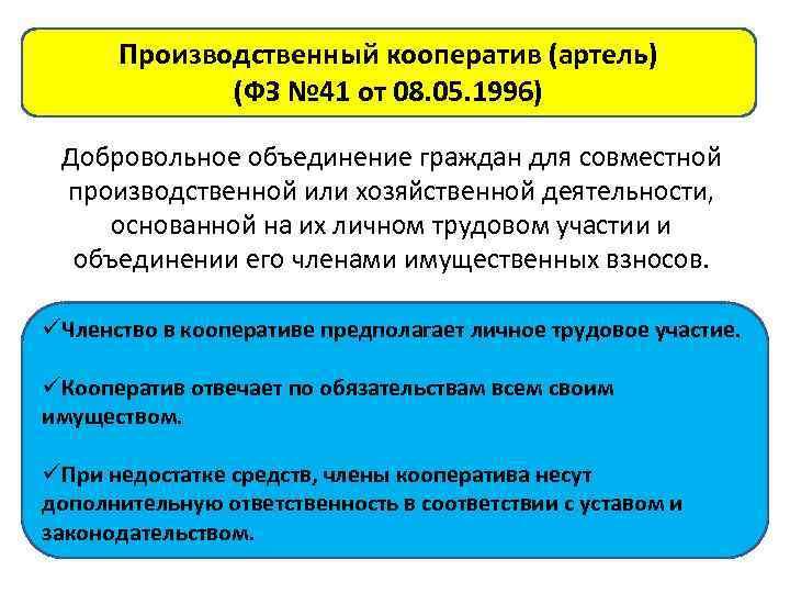 Производственный кооператив (артель) (ФЗ № 41 от 08. 05. 1996) Добровольное объединение граждан для