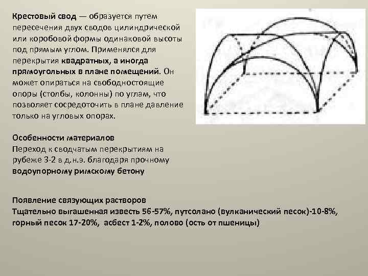 Крестовый свод — образуется путем пересечения двух сводов цилиндрической или коробовой формы одинаковой высоты