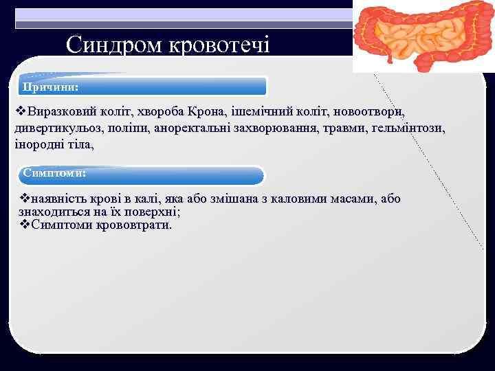 Синдром кровотечі Причини: v. Виразковий коліт, хвороба Крона, ішемічний коліт, новоотвори, дивертикульоз, поліпи, аноректальні