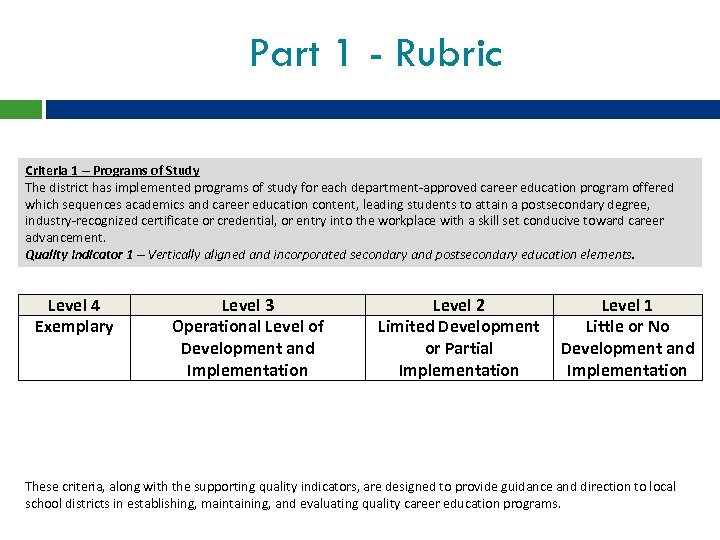 Part 1 - Rubric Criteria 1 – Programs of Study The district has implemented