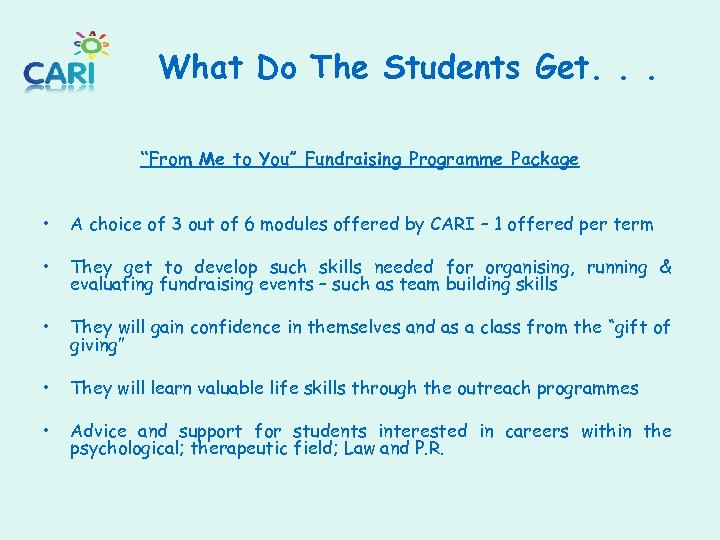 """What Do The Students Get. . . """"From Me to You"""" Fundraising Programme Package"""