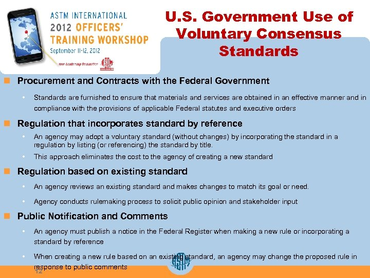 U. S. Government Use of Voluntary Consensus Standards n Procurement and Contracts with the