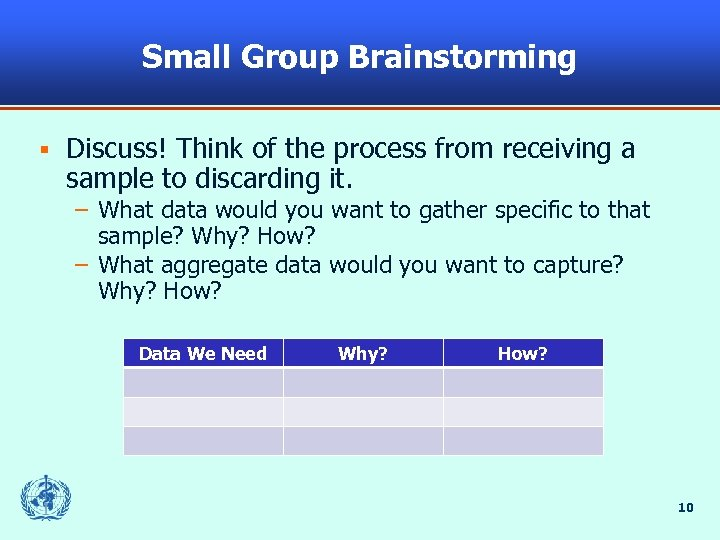 Small Group Brainstorming § Discuss! Think of the process from receiving a sample to