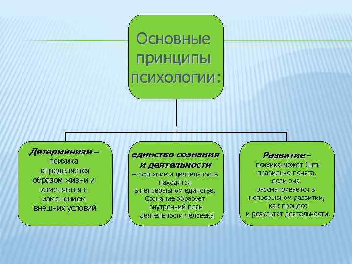 Основные принципы психологии: Детерминизм – психика определяется образом жизни и изменяется с изменением внешних
