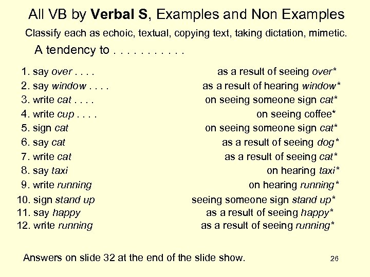 All VB by Verbal S, Examples and Non Examples Classify each as echoic, textual,