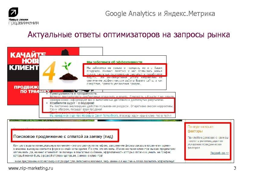 Google Analytics и Яндекс. Метрика Актуальные ответы оптимизаторов на запросы рынка www. nlp-marketing. ru
