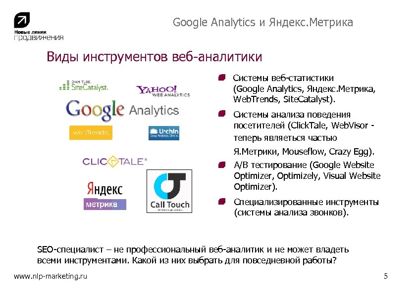 Google Analytics и Яндекс. Метрика Виды инструментов веб-аналитики Системы веб-статистики (Google Analytics, Яндекс. Метрика,
