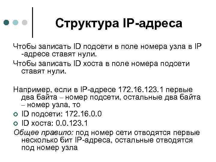 Структура IP-адреса Чтобы записать ID подсети в поле номера узла в IP -адресе ставят