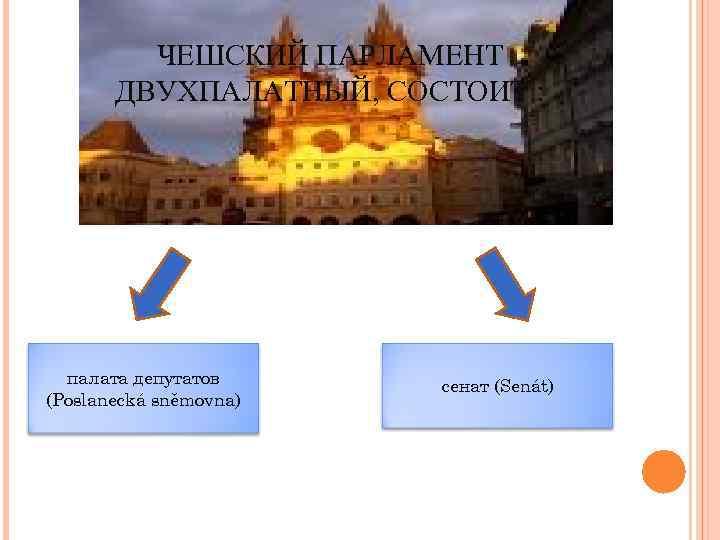 ЧЕШСКИЙ ПАРЛАМЕНТ ДВУХПАЛАТНЫЙ, СОСТОИТ : палата депутатов (Poslanecká sněmovna) сенат (Senát)