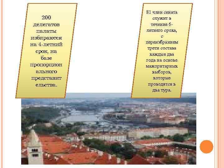 200 делегатов палаты избираются на 4 -летний срок, на базе пропорцион ального представит ельства.