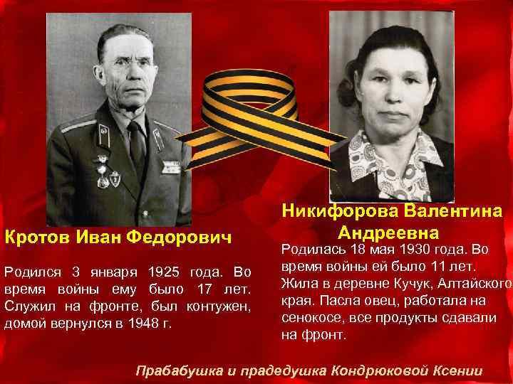 Кротов Иван Федорович Родился 3 января 1925 года. Во время войны ему было 17