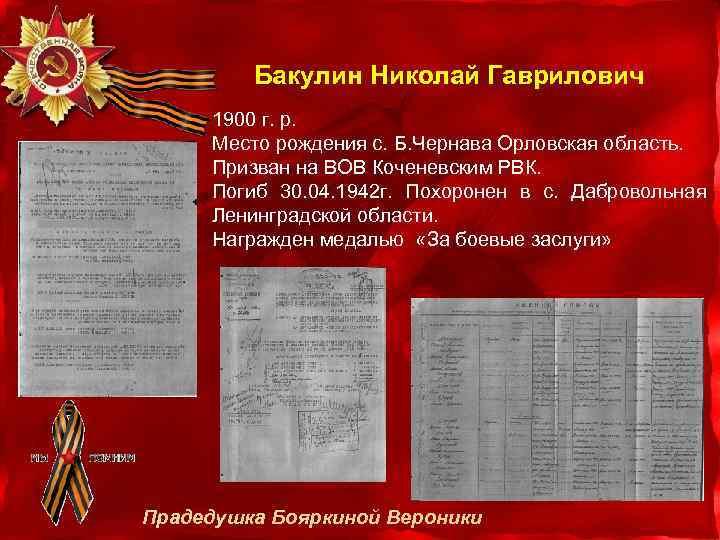 Бакулин Николай Гаврилович 1900 г. р. Место рождения с. Б. Чернава Орловская область. Призван