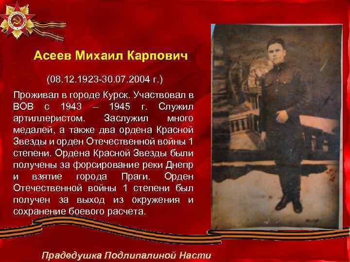 Асеев Михаил Карпович (08. 12. 1923 -30. 07. 2004 г. ) Проживал в городе