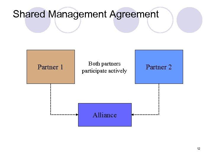 Shared Management Agreement Partner 1 Both partners participate actively Partner 2 Alliance 12