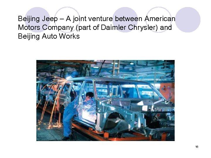 Beijing Jeep – A joint venture between American Motors Company (part of Daimler Chrysler)