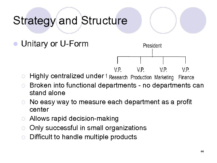 Strategy and Structure l Unitary or U-Form ¡ ¡ ¡ Highly centralized under the