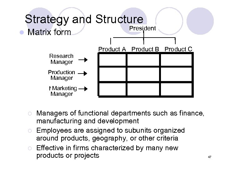 Strategy and Structure l Matrix form President Product A Product B Product C Research