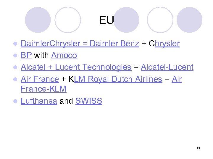 EU l l l Daimler. Chrysler = Daimler Benz + Chrysler BP with Amoco