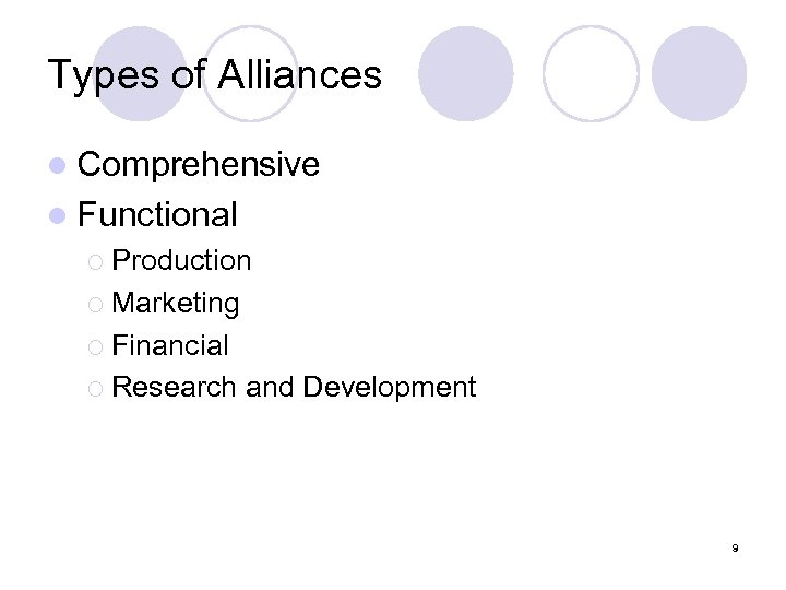 Types of Alliances l Comprehensive l Functional ¡ Production ¡ Marketing ¡ Financial ¡